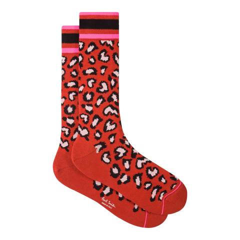 PAUL SMITH Red Animal Print Socks
