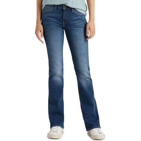 Lee Jeans Blue Wash Hoxie Kick Flare Cotton Blend Jeans