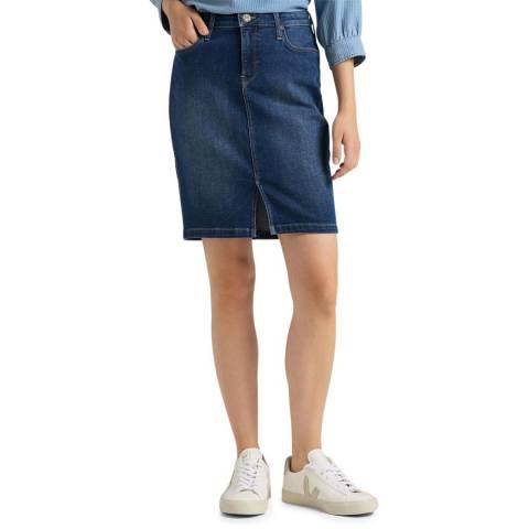 Lee Jeans Dark Blue Denim Cotton Blend Pencil Skirt