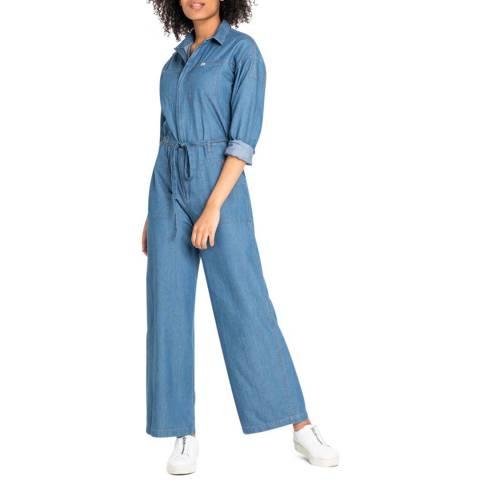 Lee Jeans Blue Wide Leg Cotton Jumpsuit