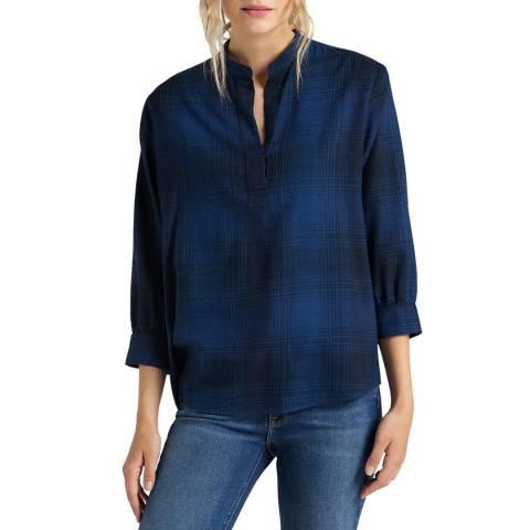 Lee Jeans Blue Check Cotton Blend Blouse