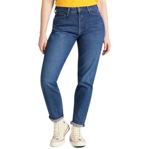 Lee Jeans Blue Mom Straight Leg Cotton Jeans