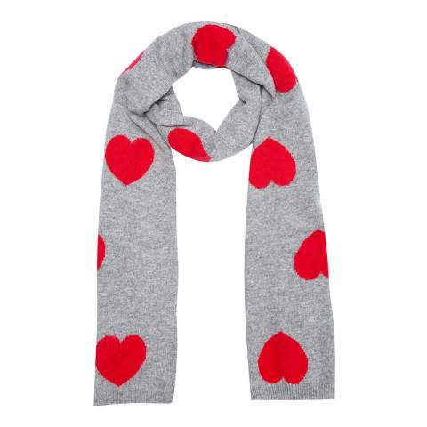 Laycuna London Grey/Red Heart Cashmere Scarf