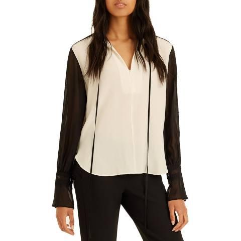 Amanda Wakeley Ecru Multi Lace Detail Silk Shirt