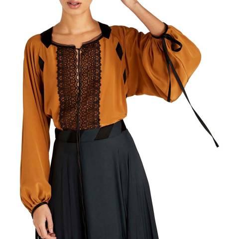 Amanda Wakeley Tan Lace Front Silk Top