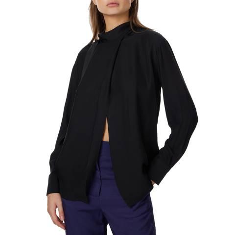 Amanda Wakeley Black High Neck Silk Shirt