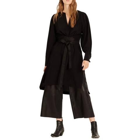 Amanda Wakeley Black Tunic Tie Waist Silk Dress
