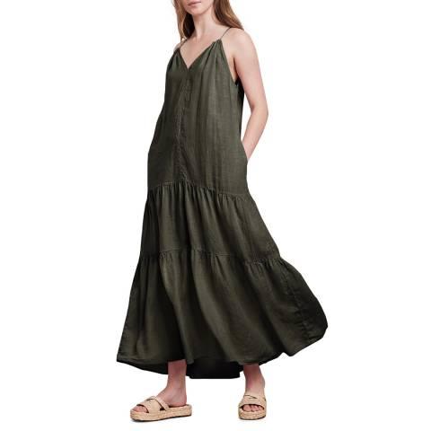 Velvet By Graham and Spencer Khaki Woven Linen Open Back Dress