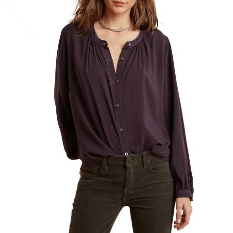 Velvet By Graham and Spencer Navy Button Through Top