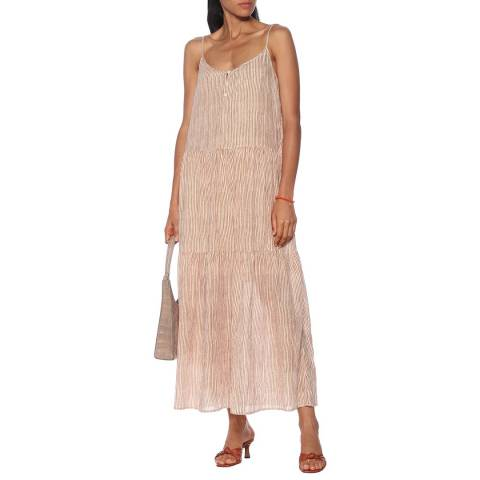 Velvet By Graham and Spencer Tan/Natural Printed Stripe Cotton Dress