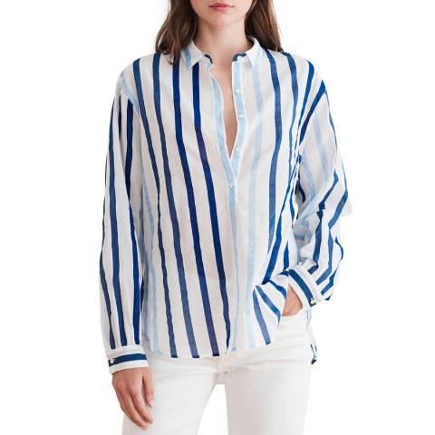 Velvet By Graham and Spencer Blue Stripe Button Through Cotton Shirt