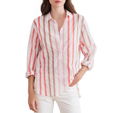 Velvet By Graham and Spencer Coral Stripe Button Through Cotton Shirt