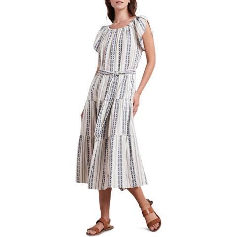 Velvet By Graham and Spencer Blue Stripe Cotton Jacquard Dress