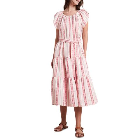 Velvet By Graham and Spencer Pink Stripe Jacquard Cotton Dress