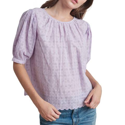 Velvet By Graham and Spencer Lavender Patterned Puff Sleeve Cotton Blouse