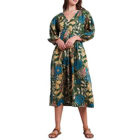 Velvet By Graham and Spencer Multi Green Floral Print V Neck Cotton Dress