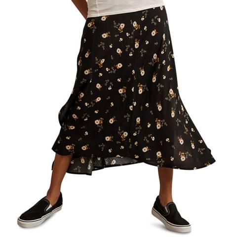 Velvet By Graham and Spencer Black Floral Print Skirt