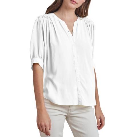 Velvet By Graham and Spencer White Short Sleeve Blouse