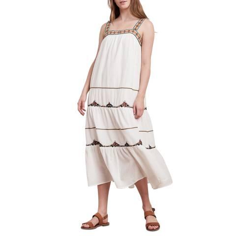 Velvet By Graham and Spencer White Embroidered Cotton Maxi Dress