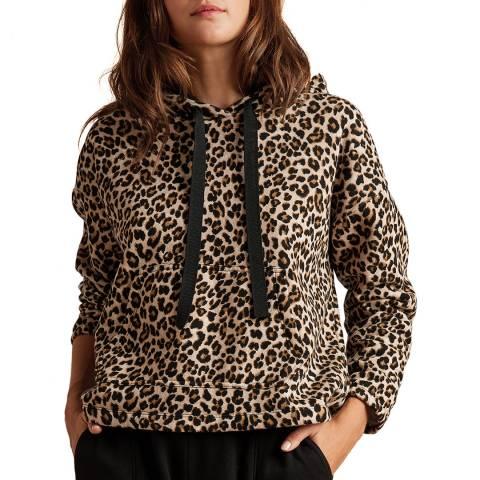 Velvet By Graham and Spencer Leopard Print Hooded Cotton Jumper