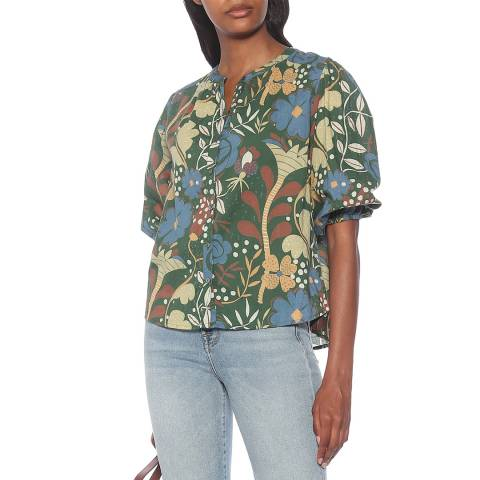 Velvet By Graham and Spencer Green Floral Short Sleeve Cotton Top