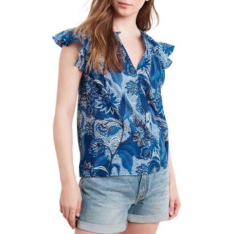 Velvet By Graham and Spencer Blue Multi Print Ruffle Sleeve Cotton Top