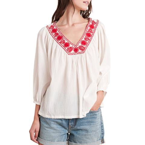 Velvet By Graham and Spencer White/Red Embroidery Cotton Blend Top