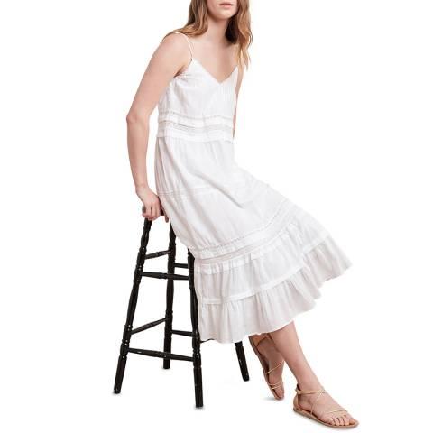 Velvet By Graham and Spencer White Lace Cotton Midi Dress