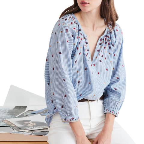 Velvet By Graham and Spencer Blue Stripe Embroidered Cotton Top