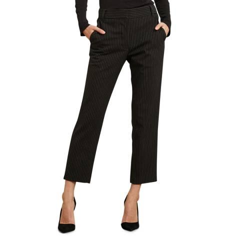 Velvet By Graham and Spencer Black Pinstripe Straight Leg Trousers
