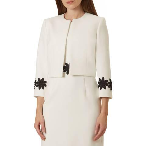 Hobbs London Ivory Louise Floral Applique Trim Jacket