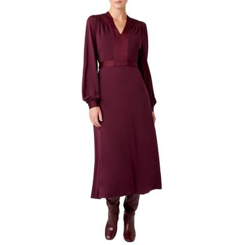 Hobbs London Burgundy Aida Jersey Dress