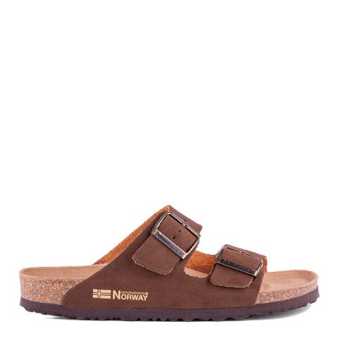 Geographical Norway Brown Double Buckle Footbed Sandal