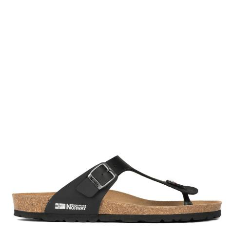 Geographical Norway Black Toe Thong Sandal