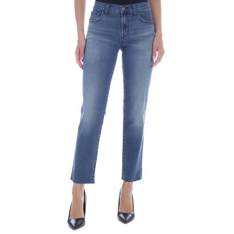 J Brand Washed Blue Adele Mid Rise Straight Stretch Jeans