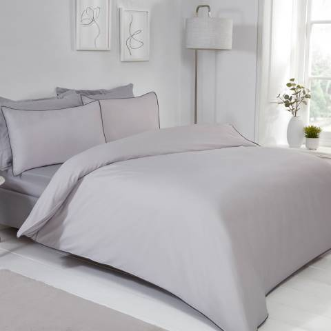 Sleepdown Contrast Piped Double Duvet Cover Set, Grey/Charcoal