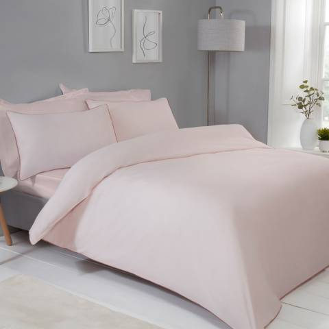 Sleepdown Contrast Piped King Duvet Cover Set, Blush/Pink