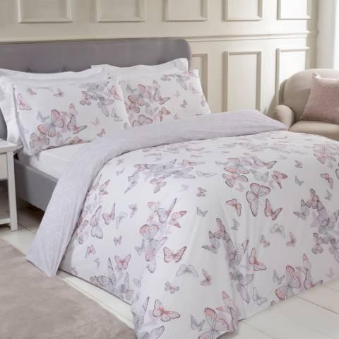 Sleepdown Butterfly Print Double Duvet Cover Set, Multi