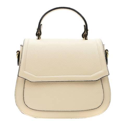 Isabella Rhea Beige Leather Top Handle Bag