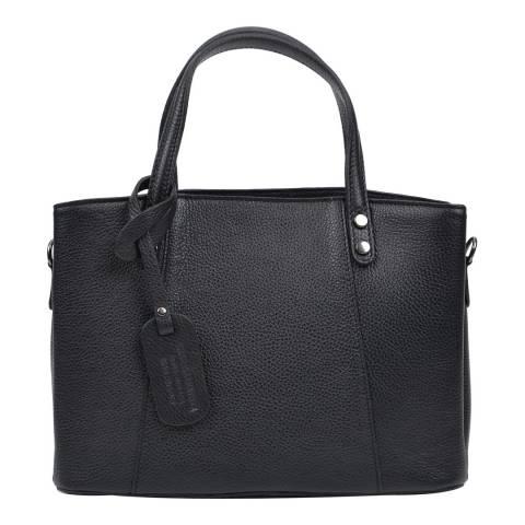 Anna Luchini Black Leather Top Handle Bag