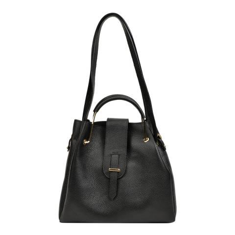 Roberta M Black Leather Top Handle Bag