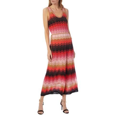 M Missoni Red Multi Zigzag Woven Maxi Dress