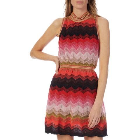 M Missoni Red Multi Zigzag Woven Skater Dress
