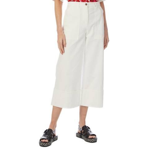 M Missoni White Cotton Wide Leg Trousers