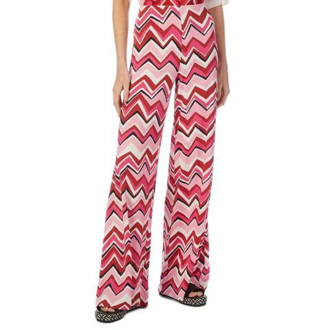 M Missoni Pink Multi Zig Zag Flare Stretch Trousers