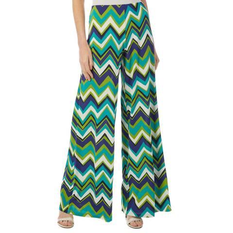 M Missoni Blue Multi Zigzag Flare Stretch Trousers