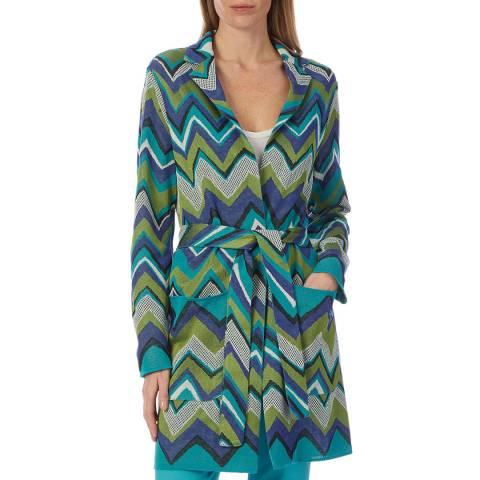 M Missoni Blue Multi Zigzag Belted Wool Blend Jacket