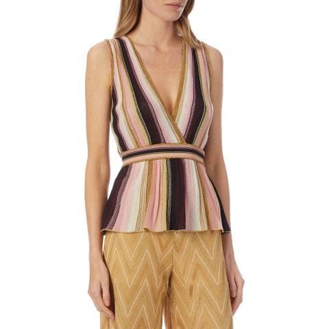 M Missoni Pink Multi Stripe Woven Plunge Top