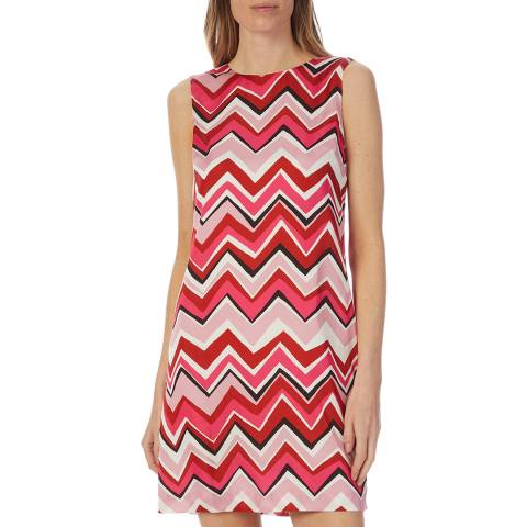 M Missoni Pink Multi Zigzag Graphic Skater Dress