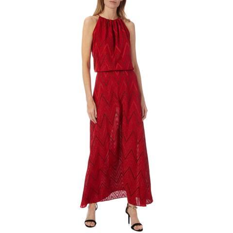 M Missoni Red Zigzag Halter Neck Maxi Dress